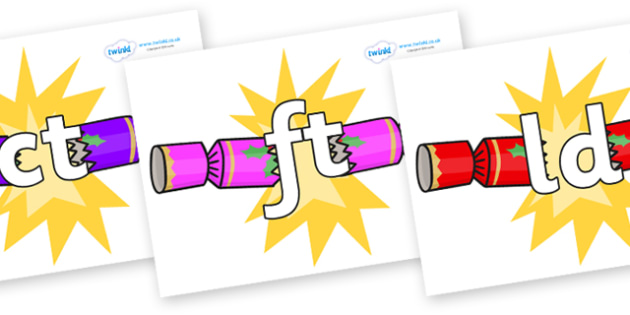 Final Letter Blends on Christmas Crackers (Cracking) - Final Letters, final letter, letter blend, letter blends, consonant, consonants, digraph, trigraph, literacy, alphabet, letters, foundation stage literacy