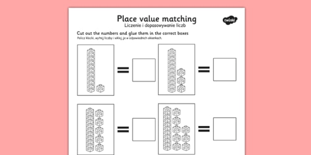 Place Value Tens and Units Cut and Stick Worksheet Polish Translation - polish, place value