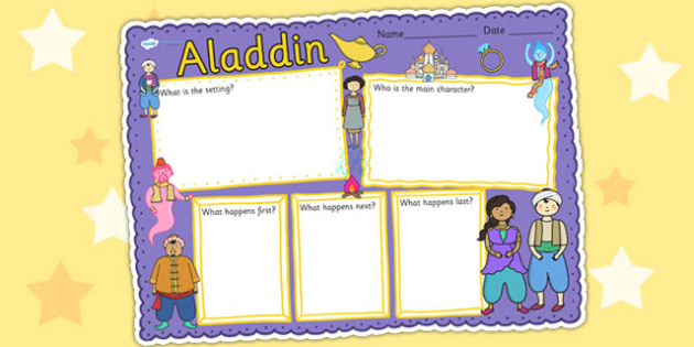 Aladdin Book Review Writing Frame - aladdin, book review, write