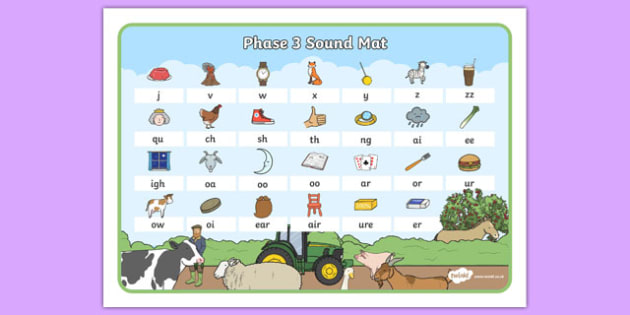 Farm Themed Phase 3 Sound Mat - farm, phase three, sound mat, visual aid, sounds
