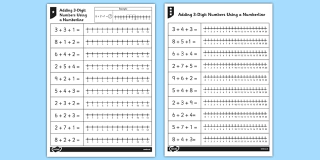Adding Three Single-Digit Numbers Using a Number Line - adding, single-digit, numbers, number line