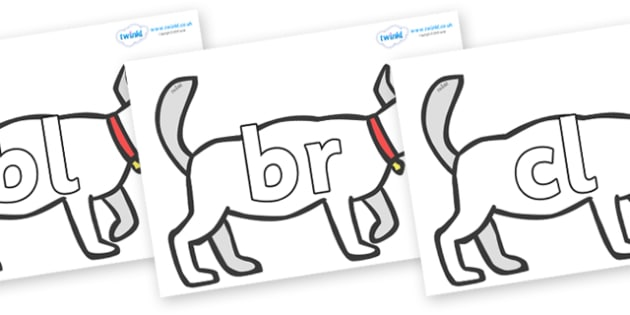 Initial Letter Blends on White Dog to Support Teaching on Brown Bear, Brown Bear - Initial Letters, initial letter, letter blend, letter blends, consonant, consonants, digraph, trigraph, literacy, alphabet, letters, foundation stage literacy