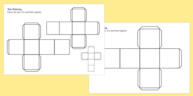 Cube Size Ordering Nets - 3d, shape, cube, shape net, size, net