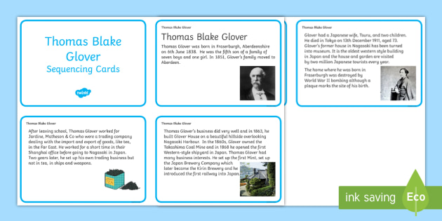 Thomas Blake Glover Sequencing Cards - Scottish significant individual, Japan, Scotland, Scottish samurai, Aberdeen, Fraserburgh, Nagasaki,