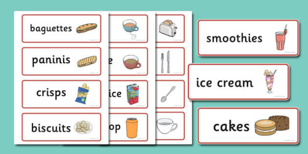 Cafe Word Cards - Cafe, shop, role play, Word cards, Word Card, flashcard, flashcards, menu, coffee, tea, waitress, till, cakes, cake, milk, sugar, table, chairs