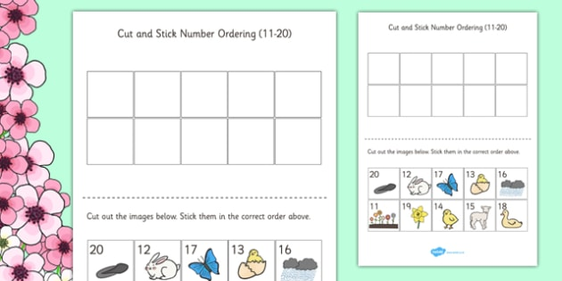 Spring Themed Cut and Stick Number Ordering Sheets 11-20 - number