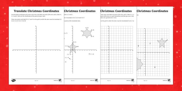 Year 6 Draw on the Full Coordinates Grid Christmas Activity Sheets Activity Sheets - Christmas Maths KS2, Year 6, Y6, coordinates, four quadrants, full coordinates grid, draw