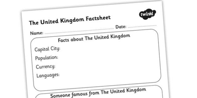 The United Kingdom Factsheet Writing Template - united kingdom, uk, united kingdom fact sheet, uk fact file, united kingdom worksheet, ks2 geography