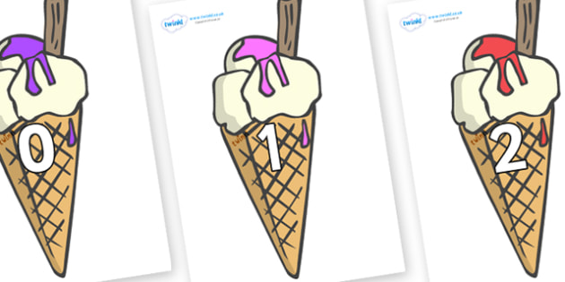 Numbers 0-31 on Ice Creams to Support Teaching on The Very Hungry Caterpillar - 0-31, foundation stage numeracy, Number recognition, Number flashcards, counting, number frieze, Display numbers, number posters