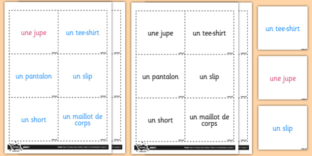 French Clothes 1 Vocabulary Flashcards - french, vocabulary, card