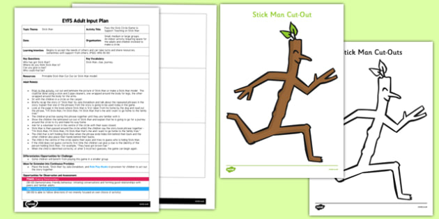 Pass the Stick Circle Game EYFS Adult Input Plan and Resource Pack to Support Teaching on Stick Man - pass, stick, circle game, eyfs