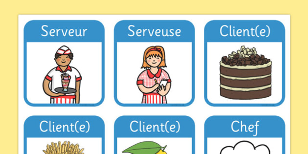 Restaurant Role Play Badges French - EAL, translated, name tags