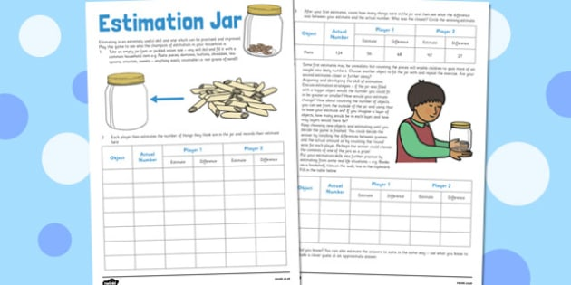 Estimation Jar - estimation jar, home education, estimation, jar, worksheet
