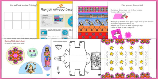 Diwali Themed Scissor Skills Pack - diwali, scissor, skills, pack