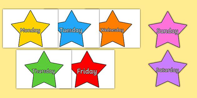 Multicoloured Stars Days of the Week - stars, days, week, pack