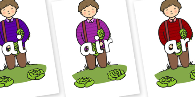 Phase 3 Phonemes on Dad Picking Lettuces - Phonemes, phoneme, Phase 3, Phase three, Foundation, Literacy, Letters and Sounds, DfES, display