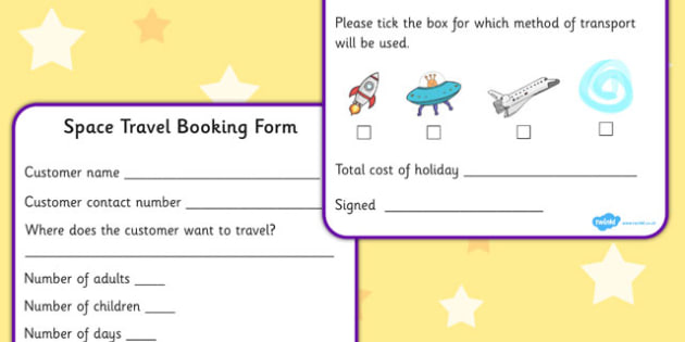 Space Travel Agents Role Play Booking Forms - role play, roleplay, roleplaying, roleplay booking forms, travel agents booking forms, space travel agents booking forms, acting, role-play, role-playing