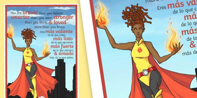 You Are Braver Than You Think Motivational Poster Spanish Translation--translation