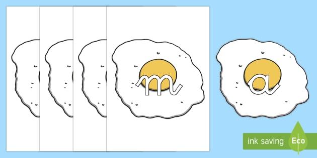 Huevos fritos tarjetas de fonemas - lecto, leer, primeros sonidos, comida,Spanish
