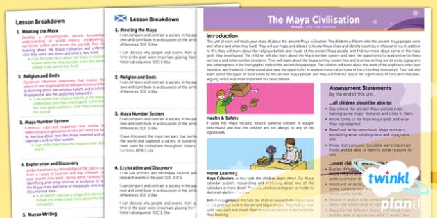 PlanIt - History UKS2 - The Maya Civilisation Planning Overview CfE - planit, history, overview, cfe