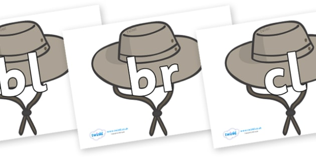 Initial Letter Blends on Cowboy Hats - Initial Letters, initial letter, letter blend, letter blends, consonant, consonants, digraph, trigraph, literacy, alphabet, letters, foundation stage literacy