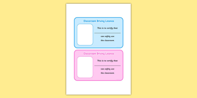 Classroom Driving Licence - good behaviour, rules, classroom, safety, safe, certificate, licence