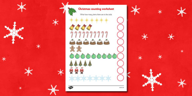 Counting at Christmas Activity Sheet - Christmas, xmas, counting, activity, advent, nativity, santa, father christmas, Jesus, tree, stocking, present, activity, cracker, angel, snowman, advent , bauble. Counting, how many