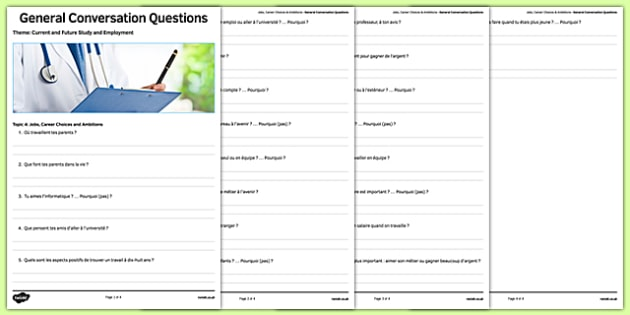 General Conversation Question List Jobs Career Choices and Ambitions - french, Conversation, Speaking, Questions, Jobs, Career, Ambitions, Métier, Travail, Profession, Argent, Salaire, Money, Salary