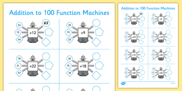 Addition to 100 Function Machines - CfE, Function Machines, addition