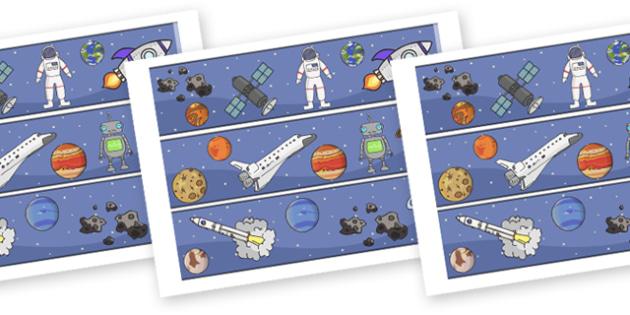 Space Display Borders - Display border, classroom border, border, space, ship, rocket, alien, launch, moon, stars, planet, planets