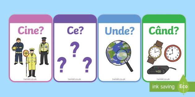 Cine, ce, unde, când Cartonașe Romanian