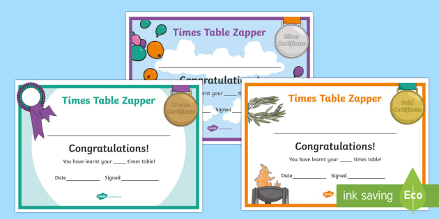 Times Table Zapper Certificates