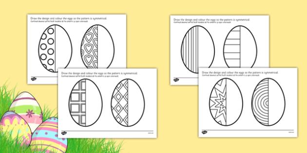 Easter Egg Symmetry Sheets Romanian Translation - romanian, symmetry, sheets, symmetry sheets, easter egg, symmetry activity, easter egg symmetry, easter symmetry, reflection, creating symmetry, numeracy, math, shapes, symmetry activity