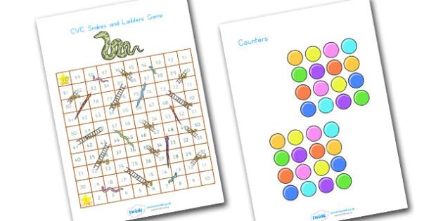 Snakes And Ladders CVC 1 100 - CVC, CVC words, word games, games