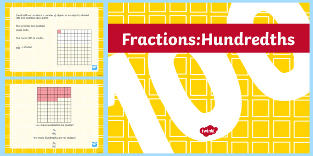 Hundredths Teaching PowerPoint - Key Stage 2, KS2, Maths, Hundredths, fractions