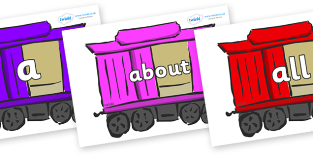 100 High Frequency Words on Carriages - High frequency words, hfw, DfES Letters and Sounds, Letters and Sounds, display words