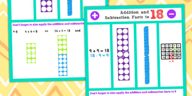Addition and Subtraction Facts to 18 Display Poster - Maths, Add
