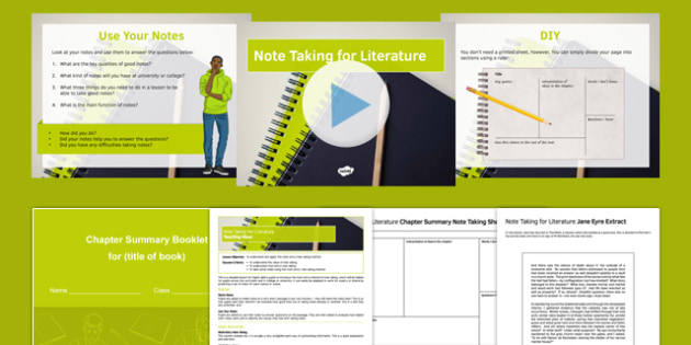 Note Taking for Literature Lesson Pack