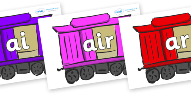 Phase 3 Phonemes on Carriages - Phonemes, phoneme, Phase 3, Phase three, Foundation, Literacy, Letters and Sounds, DfES, display