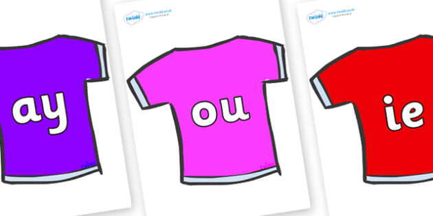 Phase 5 Phonemes on T-Shirts - Phonemes, phoneme, Phase 5, Phase five, Foundation, Literacy, Letters and Sounds, DfES, display