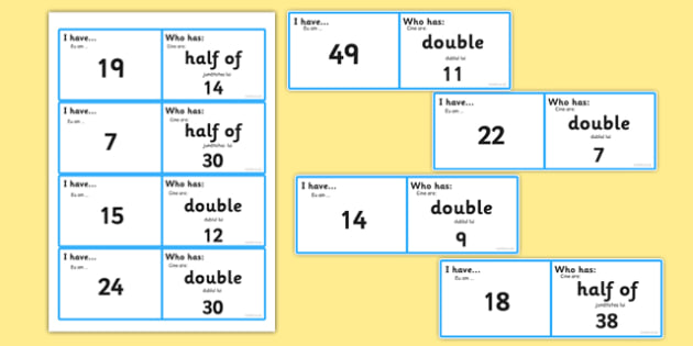 Doubles and Halves Loop Cards Romanian Translation - romanian, loop cards, cards, double, half