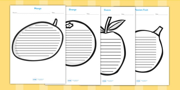 Tropical Fruit Shape Writing Frames - fruit, healthy eating
