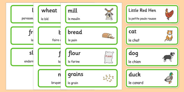 Little Red Hen Word Cards French Translation - french, story books, flash cards, visual aid