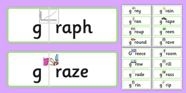 GR Jigsaws - speech sounds, phonology, articulation, speech therapy, cluster reduction, clusters, blends