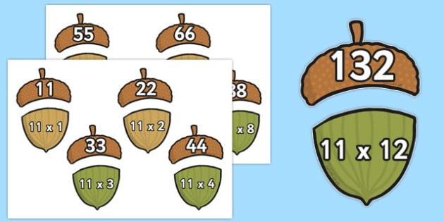 Multiplication 11x Acorn Matching Activity - multiplication, 11x, acorn, matching, activity