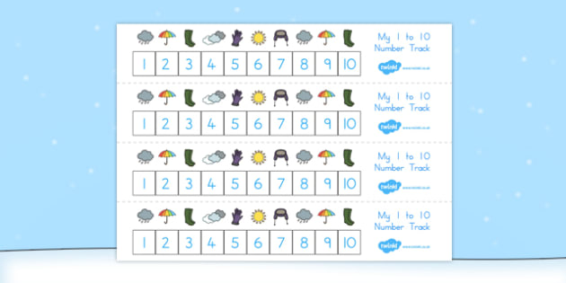 Winter Number track 1 10 - count, counting aid, counting, winter