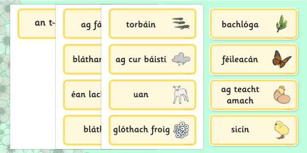 Spring Word Cards Gaeilge - irish, gaeilge, Word cards, Spring, Word Card, flashcard, flashcards, lambs, daffodils, new life, flowers, buds, plants, growth
