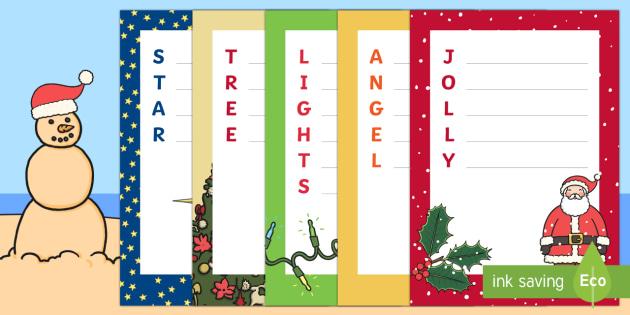 Christmas Acrostic Poems Writing Template