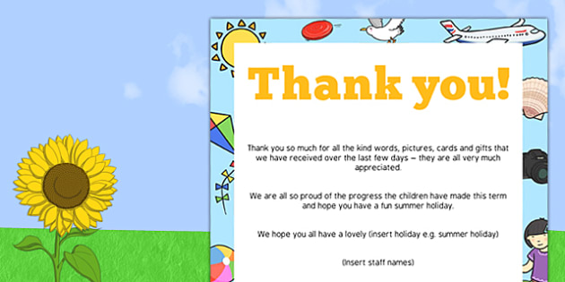 Summer Editable End of Term Thank You Poster - summer, poster