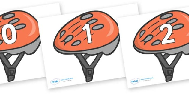Numbers 0-50 on Bike Helmets - 0-50, foundation stage numeracy, Number recognition, Number flashcards, counting, number frieze, Display numbers, number posters